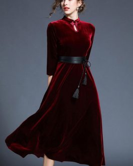 Women Velour Chinese Prom Maxi Dress