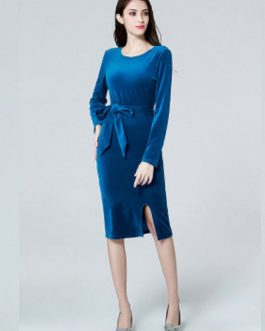 Women Velour Long Sleeve Shaping Midi Dress