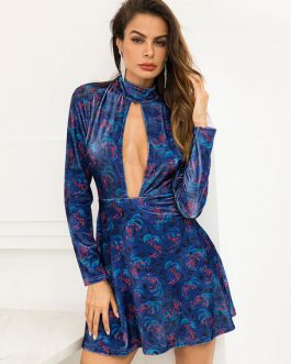 Women Velvet Sexy Cut Out High Collar Floral Dresses