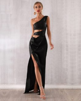 Women Celebrity Sexy One Shoulder Maxi Dress