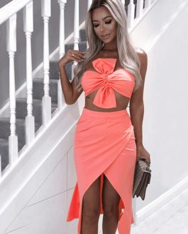 Women Vestidos Strapless Bow Evening Party Two Pieces Sets