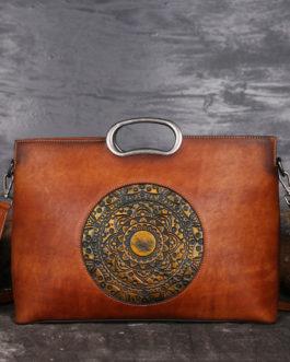 Women Vintage Genuine Leather Embossed Handbag Brush Color Handmade Crossbody Bag