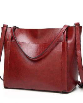 Women Vintage Leather Handbags Retro Shoulder Bag Tote Bag
