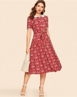 Women Vintage Pan Collar Botanical Button Front Casual Dress