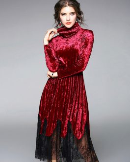 Women Vintage Velour Lace Pleated Midi Dresses