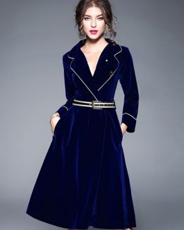Women Vintage Velour Long Sleeve Midi Dress