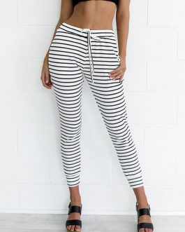 Women White Pants Striped Skinny Casual Pants