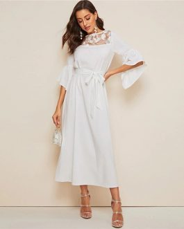 Women White Solid Belted High Waist Flounce Sleeve Dresses