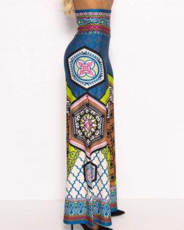 Women Wide Leg Trousers Ethnic Print High Waist Boho Pants
