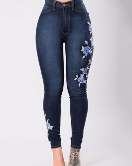 Women's Denim Embroidered Skinny Long Jeans