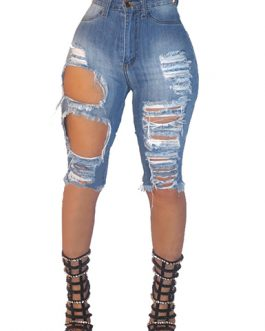 Women's High Waistline Distressed Denim Cutoffs