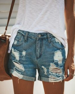 Women's Distressed Denim Cutoffs