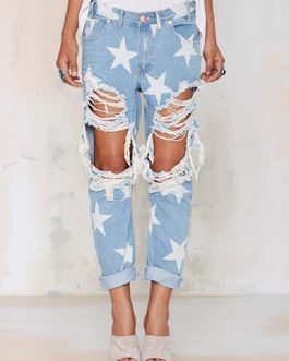 Women's Distressed Denim Straight Leg Jeans