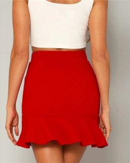 Womens High Waist High Street Sheath Mini Skirt