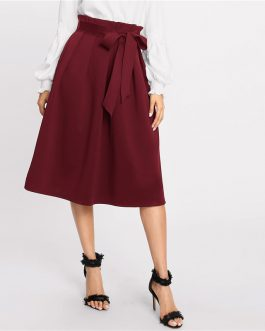Womens High Waist Solid Office Lady Midi Skirt