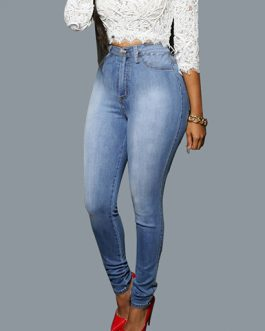 Women's High Waisted Faded Denim Skinny Jeans