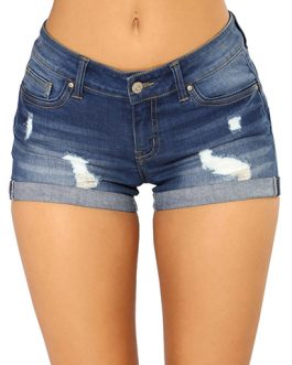Women's Low Slung Waistband Distressed Denim Shorts