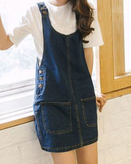 Women's Overall Style Mini Shift Dress