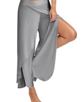 Women's Palazzo Pants Cropped Pants High Slit Draped Wide Leg Pants