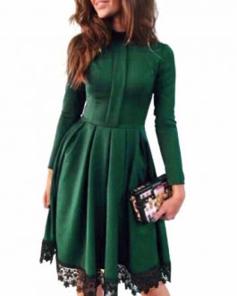 Women's Skater Lace Trim Pleated Flare Dress