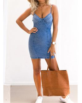 Women's Spaghetti Straps Denim Mini Dress
