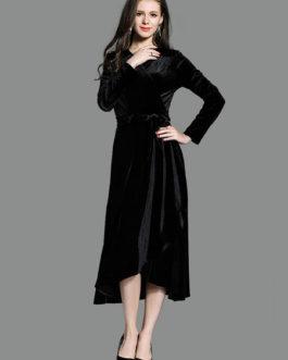 Women's V Neck High Low Velour Wrap Maxi Dresses