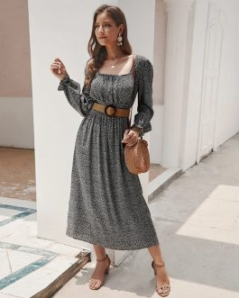 A Line Bleted Floral Boho Long Dresses