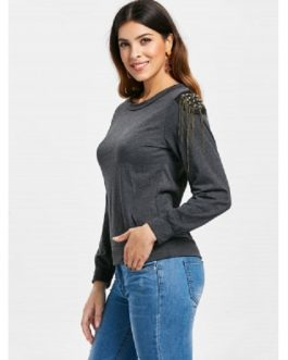 Alluring Jewel Neck Solid Color T-Shirt