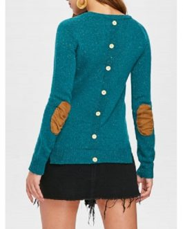 Back Buttoned Elbow Spliced Pullover Sweater
