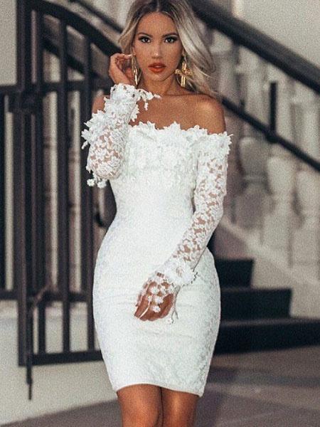Bardot Lace Sheath Sexy Bodycon Dress