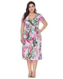 Bohemian Floral print plus size Office Lady short dress