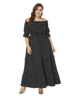 Bohemian plus size Off the Shoulder maxi dress
