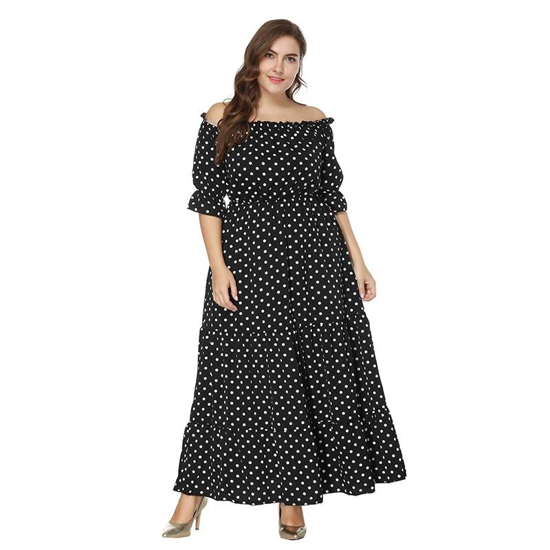 Bohemian plus size Off the Shoulder maxi dress