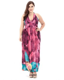 Bohemian print plus size Sleeveles maxi dress