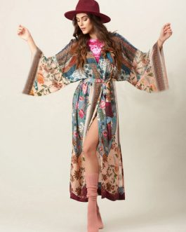 Boho Print Long Sleeve Maxi Dress