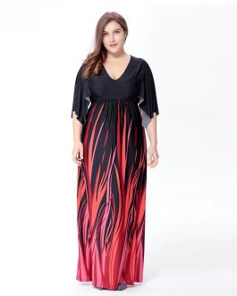 Boho Striped plus size Vestidos long maxi Dress
