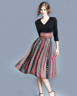 Boho print Patchwork vintage slim short dress