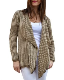 Casual Collarless Long Sleeve Knitted Cardigan