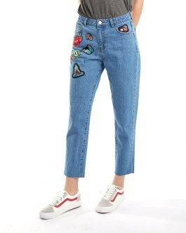 Denim Mom Style Pants Patches Casual High Waist Boyfriend Pencil Jeans