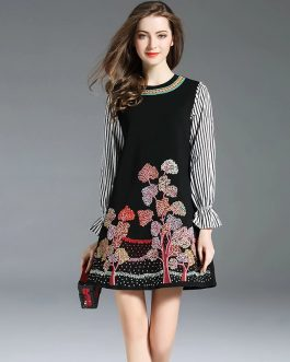 Casual Embroidery Flare Sleeve Patchwork mini Dress