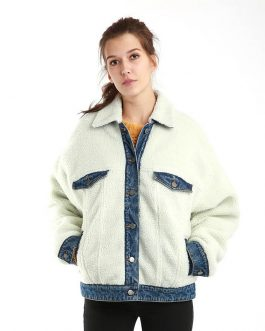 Oversize Loose Casual Artifical Lambswool Embroidery Denim Fancy Jacket