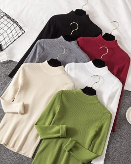 Casual Long Sleeve Jumper Female Slim Pure Sweater Tops
