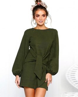 Casual Long Sleeve Solid O Neck Front Tie Mini Dress