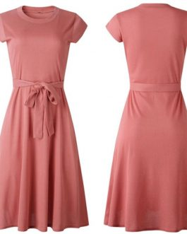 Casual Midi Length O Neck Sundress