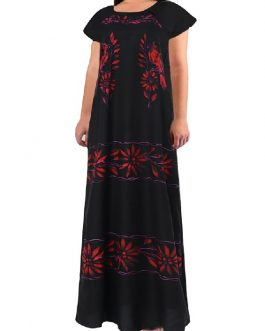 Casual Print Leaves Short Sleeve Maxi Dress
