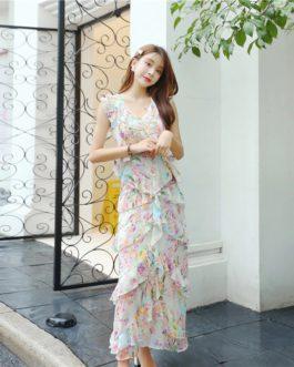 Casual Ruffles Layer Print Long Dresses