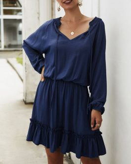 Casual Ruffles Tie Neck Beach Dress