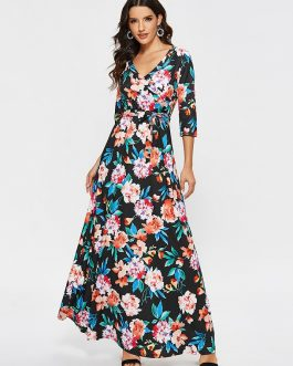 Casual Sexy V Neck Bohemian Print Maxi Dress