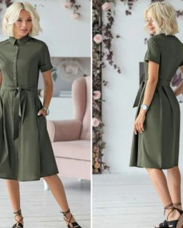 Casual Turn Down Collar Short Sleeve Midi Dress