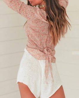 Chic Lace up Lantern Sleeve Short Crop Top